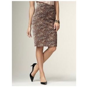 Talbots animal print velvet pencil skirt